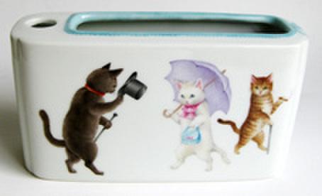 絵付けテキストNo24【イラスト調の猫のペン立て】