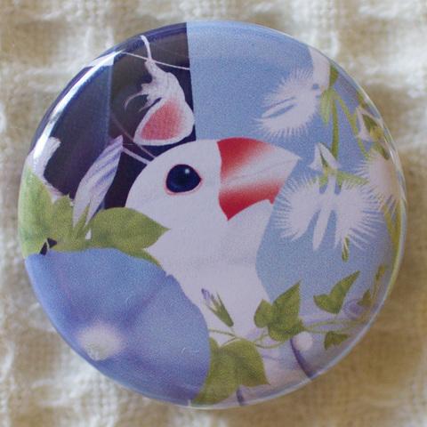 和柄文鳥缶バッジ—夏の涼