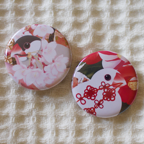 和柄文鳥缶バッジ2個セット—桜と椿