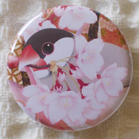 和柄文鳥缶バッジ—桜づくし