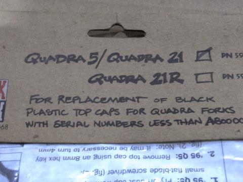 ROCKSHOX QUADRA TOPCAP RETROFIT KIT
