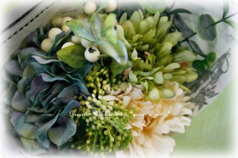 *natural*ガーベラ・紫陽花・ベリー・シックなボタニカルブーケ【ブルーグリーン】