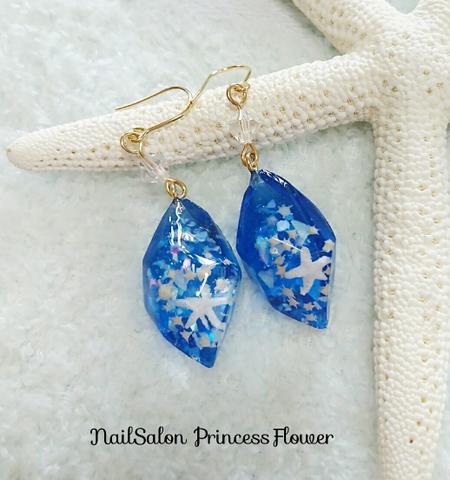 海の宝石ピアス