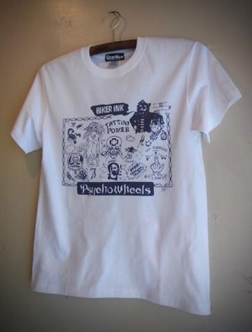 BIKER INK - S/S T-shirt (WHITE/navy print)