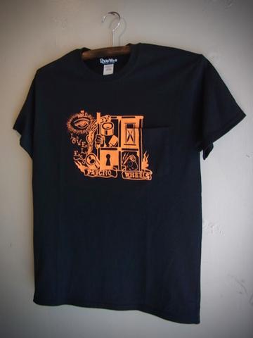 LOVELESS - S/S T-shirt (BLACK/neon orange print)