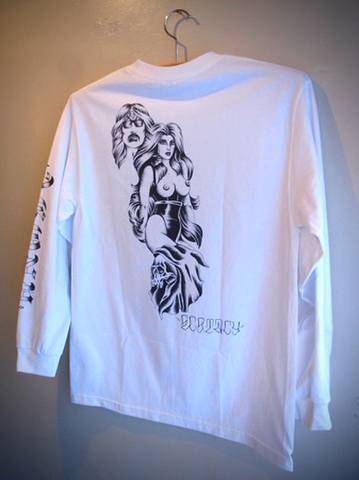 AGONY - L/S T-shirt (WHITE/black print)
