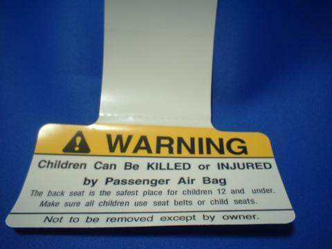 PASSENGER AIR BAG WARNNING PLATE
