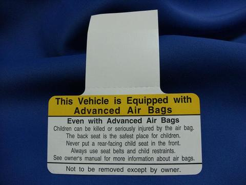 2008 PASSENGER AIR BAG WARNNING PLATE