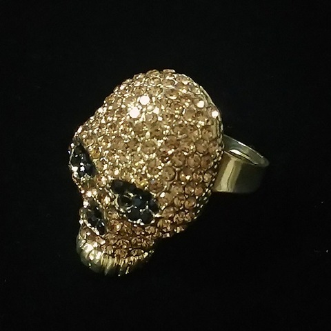 【USA】ラインストーン スカルリング 大きな指輪(US3406)