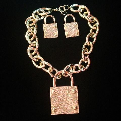 【USA】ビッグチェーンとラインストーン鍵デザイン ネックレス&ピアスセット(US3397)