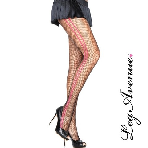 【LEG AVENUE】サイドピンクライン付きあみタイツ パンティーストッキング9231(US2923)