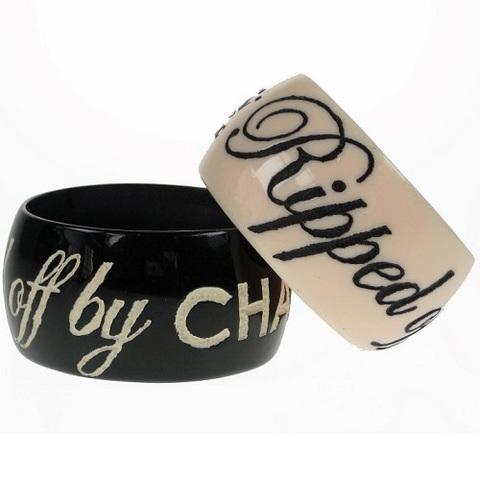 【80%OFF】【Jessica Kagan Cushman】メッセージワイドバングル Rippid off by Chanel ブラック(US3060)