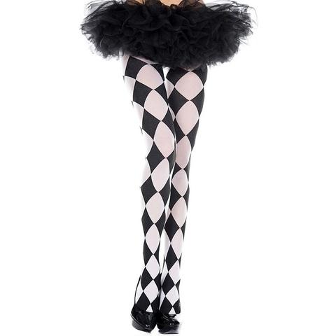 【MUSIC LEGS】白黒ダイヤチェック模様タイツ パンティーストッキング7079(US3488)