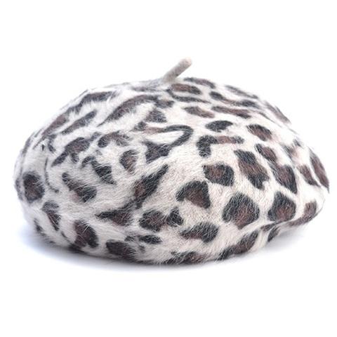 ヒョウ柄 ベレー帽 グレー(C3507)