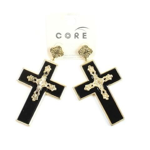 【USA】十字架 ゴールド&ブラッククロス ピアス(US2908)