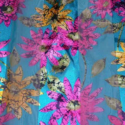 【USA】ロングスカーフ ブルー花柄(US3486)