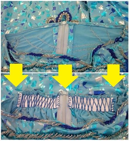 【お直し】ベリーダンス エジプト衣装 ウエストサイズ調節 ゴム入れ(F2464)