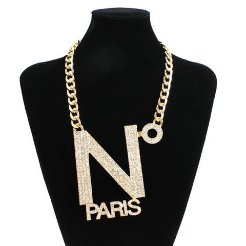 【50%OFF】【USA】N° PARIS ラインストーン 超ビッグネックレス(US2910)