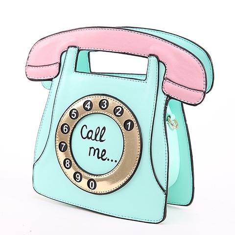 ダイヤルフォンのクラッチバッグ ミント(C3334)