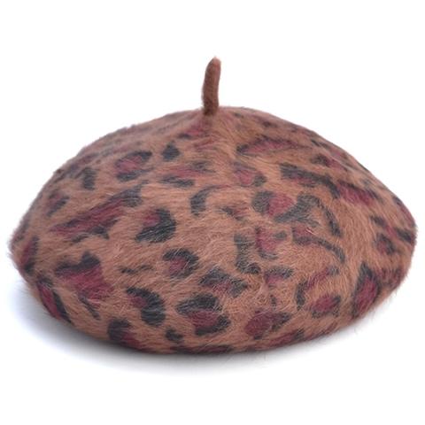 ヒョウ柄 ベレー帽 ブラウン(C3506)