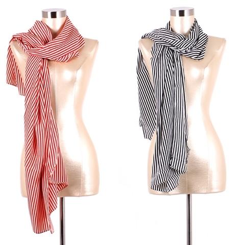 【USA】ストライプ大判スカーフ モード系(US2850)