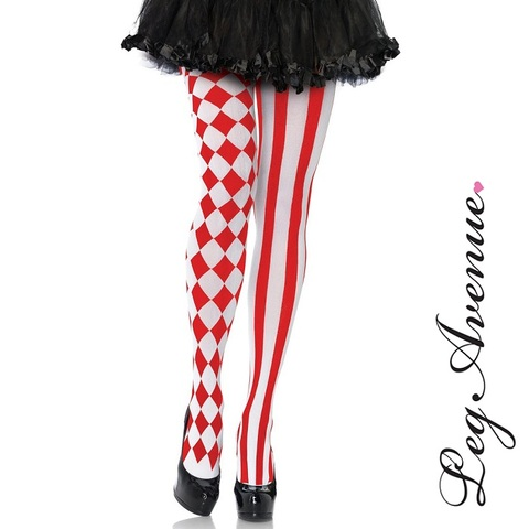 【入荷待ち】【LEG AVENUE】ピエロ赤/白ダイヤ&ストライプ シアータイツ パンティーストッキング7720(US3489)