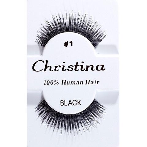 【50%OFF】【Christina】人毛 つけまつ毛 100% Human Hair #1(US3267)