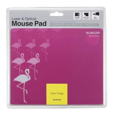 【ELECOM】ピンクフラミンゴのマウスパッド 横長サイズ Animal motif mouse pad(JP3243)