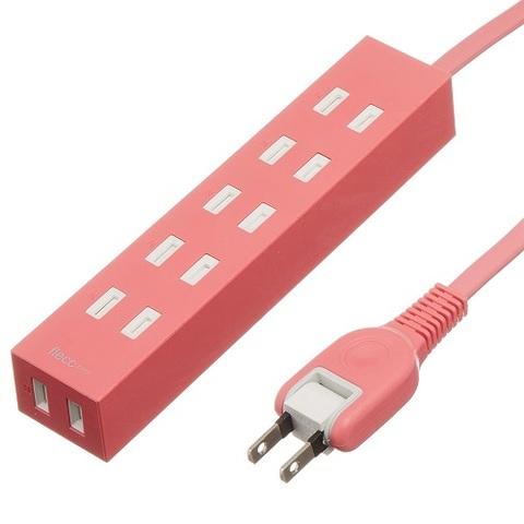 【ELECOM】電源タップ 6個口 3m ピンク(D3363)