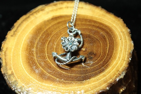 Flower&Anchor with Stone Pendant