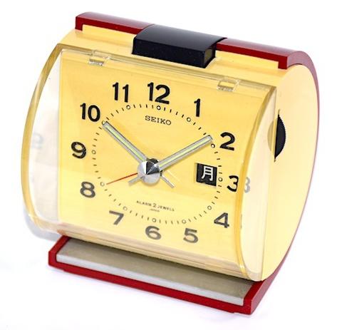 SEIKO 円柱型ツートーン目覚時計 曜日表示付 昭和40年代前半頃【038】