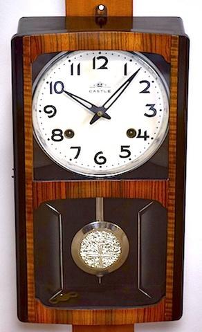 明治時計 箱型柱時計 CASTLE 昭和30年頃【W201】