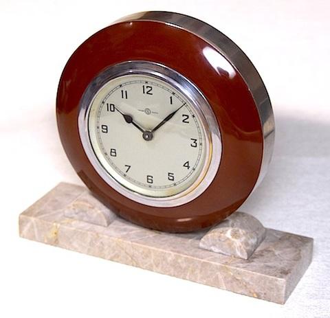 精工舎 プラスチック枠大理石台座置時計 昭和20年代後半【082】