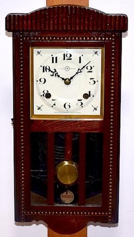 精工舎 宮型柱時計(セルロイド文字盤) 昭和初期頃【W146】
