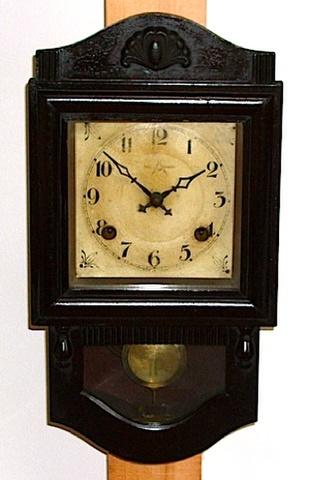 コンパス時計製造所 小型柱時計 昭和初期【W017】