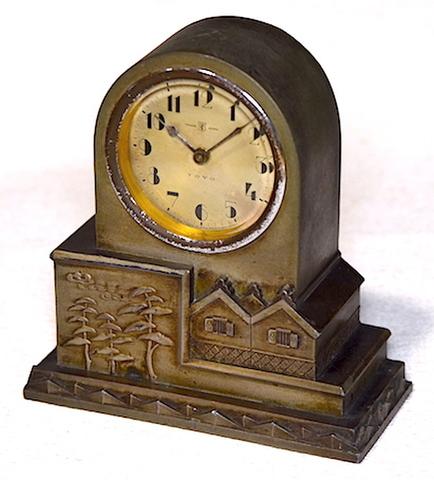 東洋時計 アンチモニ枠置時計 昭和初期頃【076】