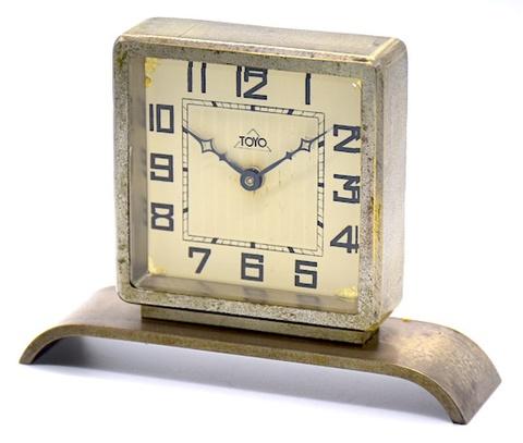 東洋時計 角型金属枠置時計 昭和初期頃【003】