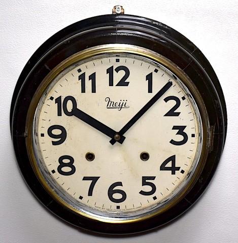 明治時計 10吋丸型柱時計(トーマス) 昭和30年代前半【W266】