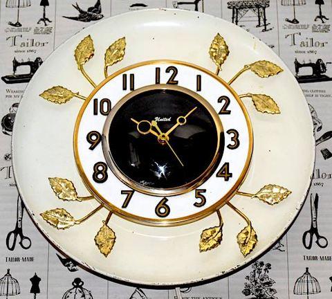 UNITED CLOCK(アメリカ) リーフモチーフウォールクロック 1960年代【W255】