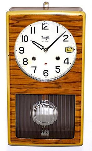 明治時計 箱型柱時計 30DAY カレンダー付 昭和40年頃【W230】