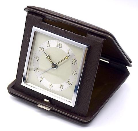 本革携帯ケース入 小型アラームクロック 1930〜40年代【031】
