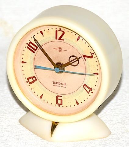 精工舎 ベークライト枠小型置時計 昭和30年頃【037】