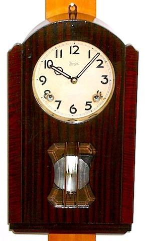 明治時計 小型柱時計 アルミムーブメント 昭和15年【W093】