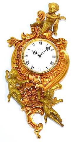 IMHOF(スイス) ブロンズ製装飾掛時計 1960〜70年代【W219】