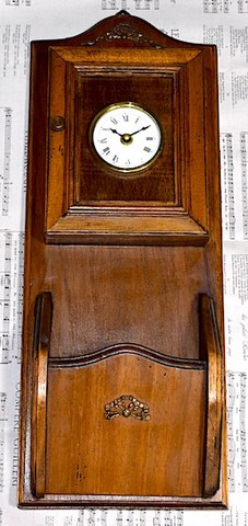 時計付木製キーケース+レターラック 1970年代以降【S054】