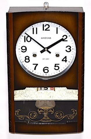 愛工舎 箱型柱時計 31DAY カレンダー付 昭和40年頃【W240】