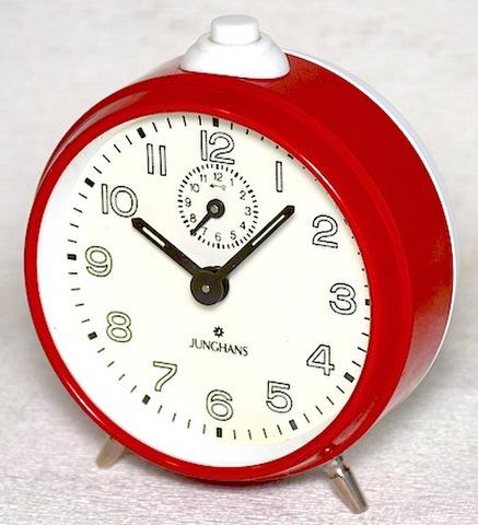 JUNGHANS(ドイツ) 丸型目覚時計(レッド) 1960年代【024】