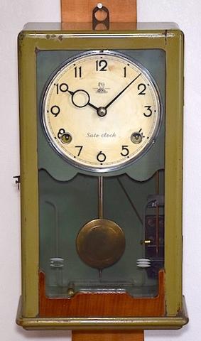 佐藤時計 硝子窓小型柱時計 昭和20年代後半〜30年代前半【W108】