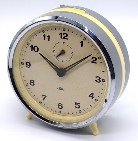 PRIM(チェコスロバキア) 丸形目覚時計(グレー) 1960〜70年代【028】