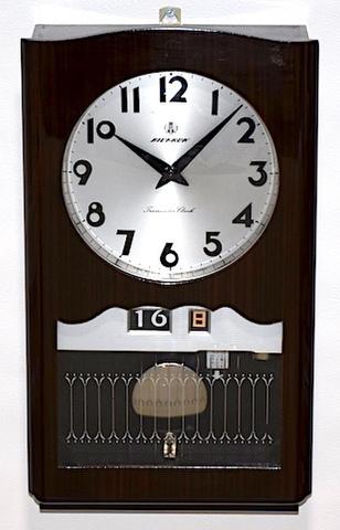 愛知時計 トランジスタ柱時計 AICHRON カレンダー付 昭和40年代【W241】